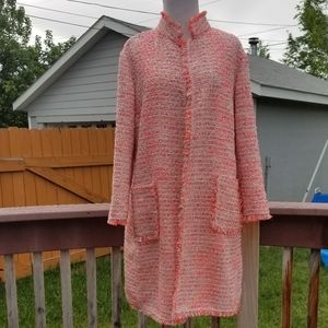 Pink yellow white tweed long sleeve boxy oversized
